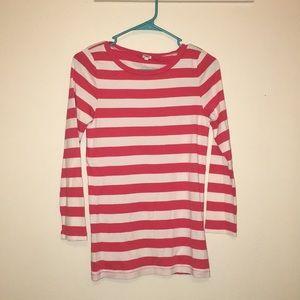 J. Crew pink thick stripe light long sleeve shirt